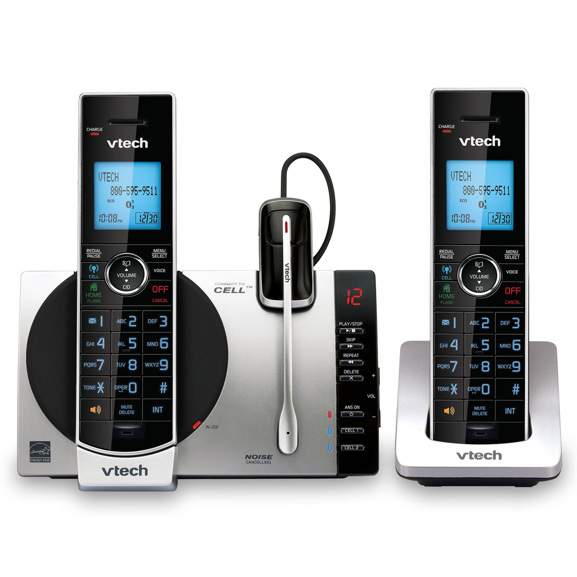 VTech DS6771-3 DECT 6.0 Expandable Cordless Phone with Connect to Cell, Siri and Google Now Access, Silver/Black, 2 Handsets and 1 Cordless Headset by VTech