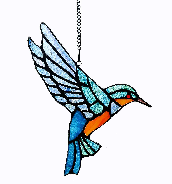 "Alivagar Stained Glass Bluebird Window Hanging Sun Catcher Ornament Bird, 9"" x 6 1/2"""