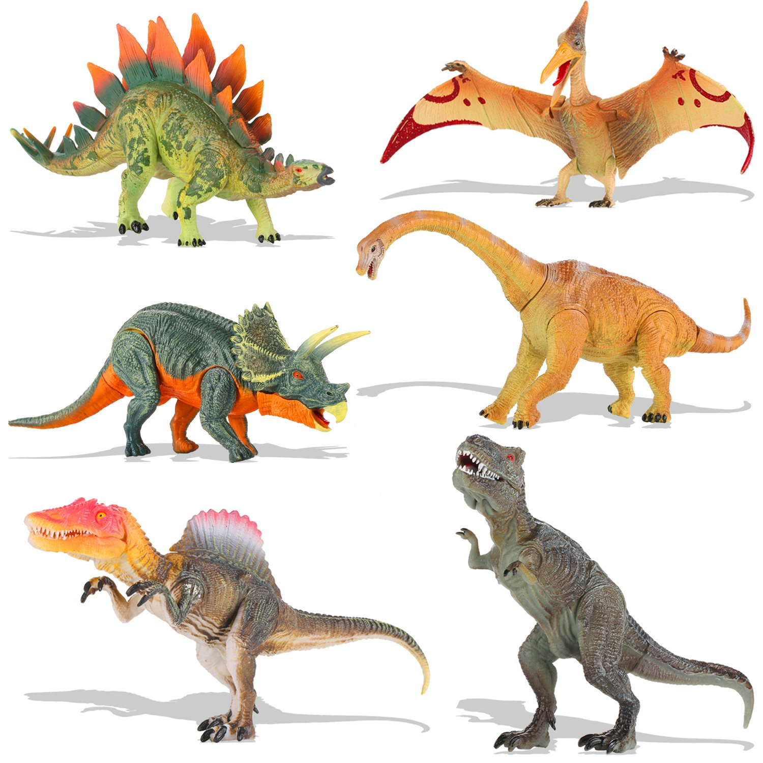 QuadPro Dinosaur Toys Sets for Kids, 6 Piece Jumbo Plastic Dinosaurs Figures Include Triceratops, Brachiosaurus, Spinosaurus,Stegosaurus, Pterodactylus, T Rex Toy, STEM Toys for Boys and Girls