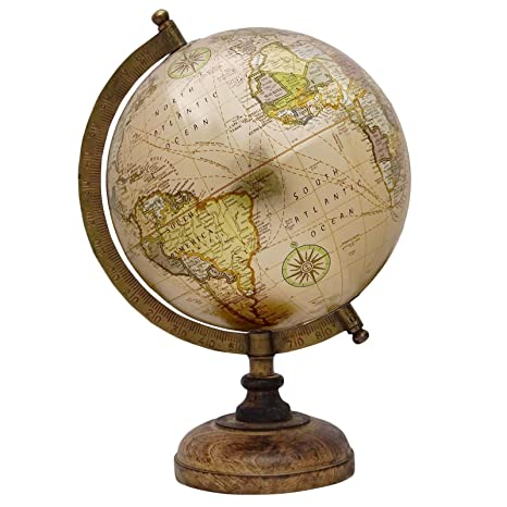 Decorative Rotating Earth Globe Beige Ocean World Geography Home Decor  13u0026quot;