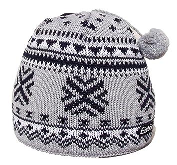 545abe0bb1e Eisbar Heinz MU Austrian Merino Wool Winter Sports Ski Bobble Hat  (Grey White)