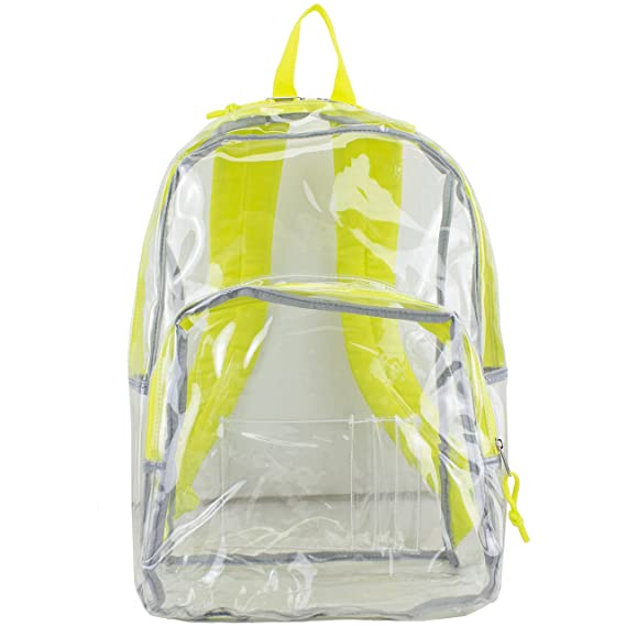 Amazon.com | Eastsport Clear Backpack, Fully Transparent with Padded Straps, Clear/Neon Yellow | Casual Daypacks