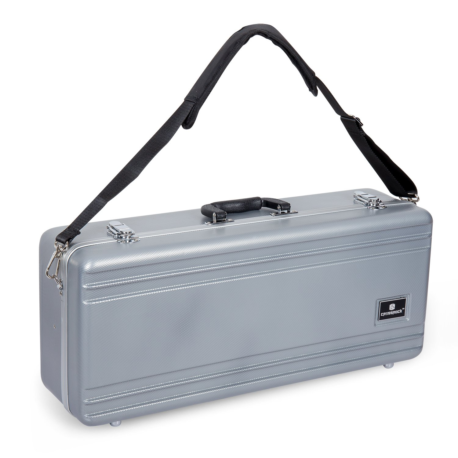 Crossrock CRA860ASSL-R Alto Saxophone Case- Rectangular ABS Molded with Single Shoulder Strap, Silver Crossrock Case Company
