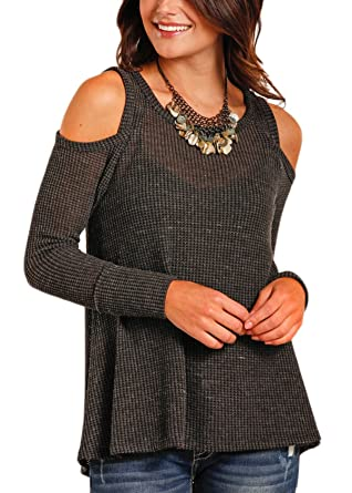 ca7721943845 Panhandle Women's Waffle Knit Swing Top - J8-3262-Blk at Amazon ...