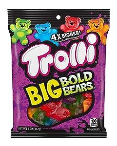 Trolli Big Bold Bears Gummy Candy, 5 Ounce, Pack of 12