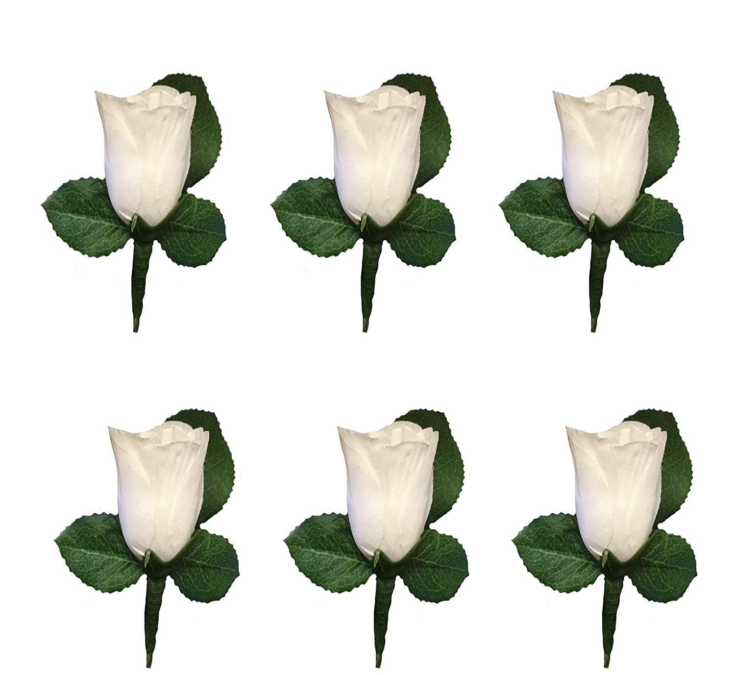 Amazon Set Of 6 White Rose Boutonniere With Pin For Prom Party