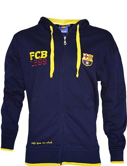 Chaqueta sudadera con capucha oficial de FC Barcelona para hombre, talla de adulto Azul azul
