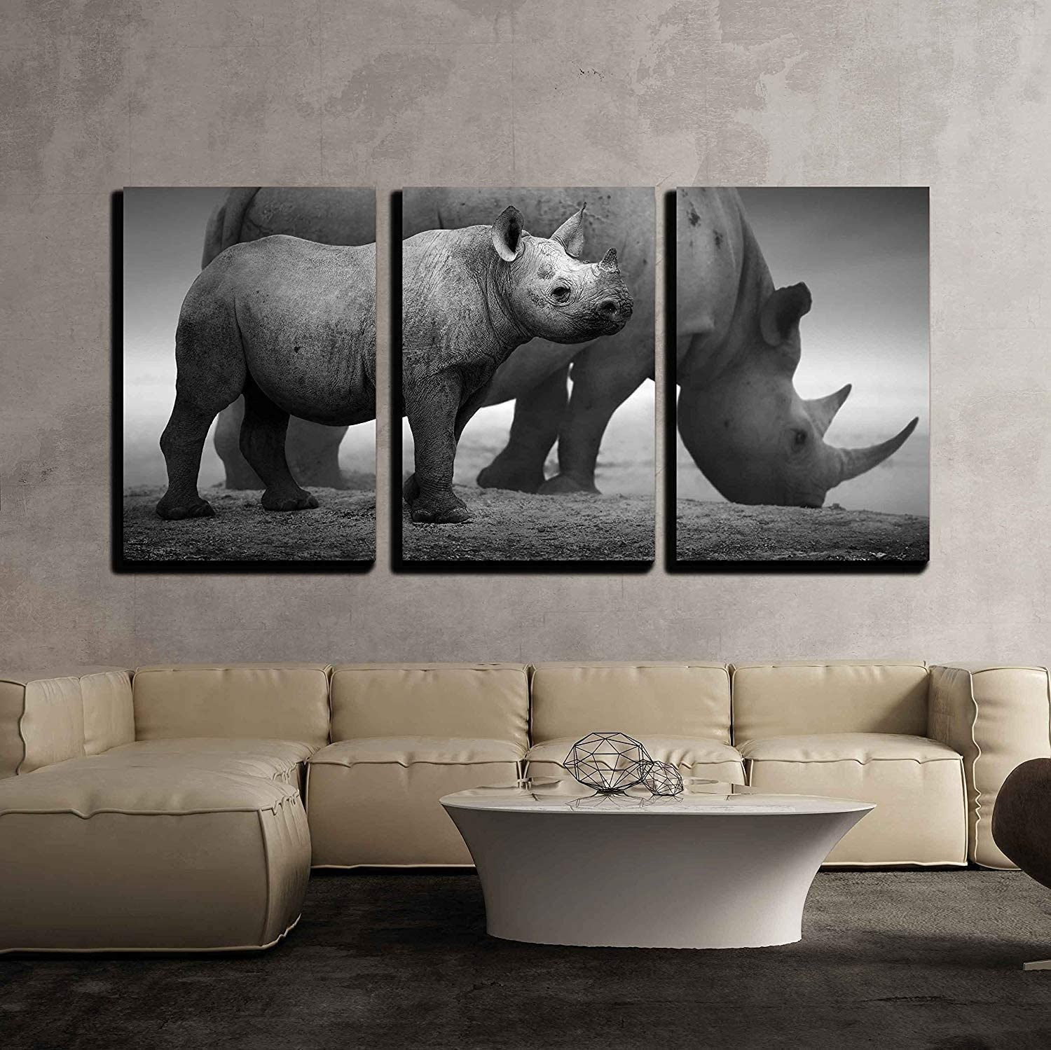"""wall26 - 3 Piece Canvas Wall Art - Black Rhinoceros Calf (Diceros Bicornis) Standing with Cow at a Waterhole - Modern Home Decor Stretched and Framed Ready to Hang - 16""""x24""""x3 Panels"""