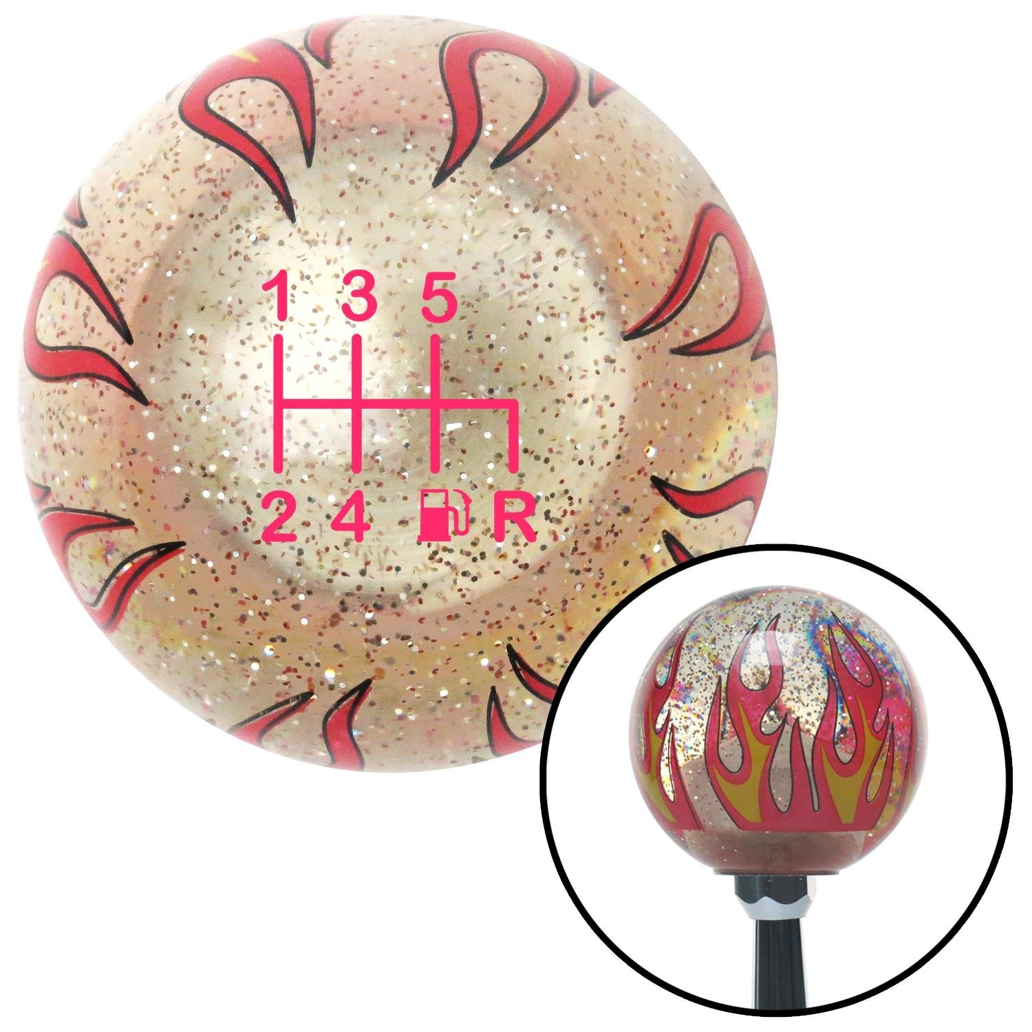 American Shifter 46021 Orange Metal Flake Shift Knob with 16mm x 1.5 Insert Yellow Felix The Cat Middle Finger