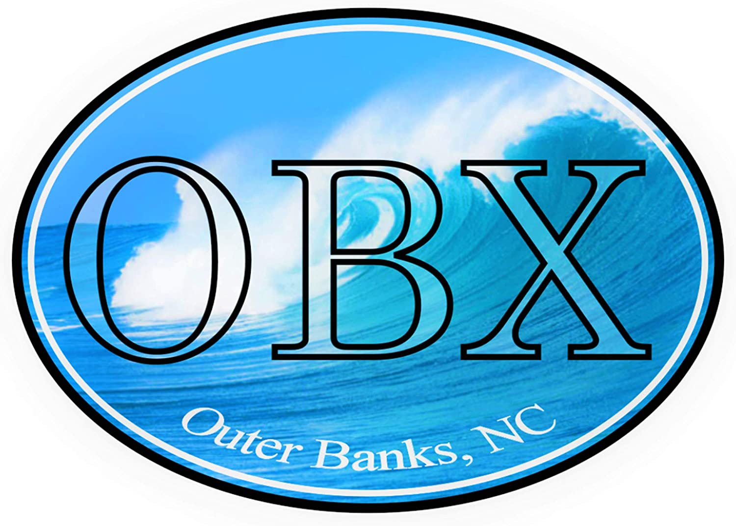 OBX Outer Banks Wave Bumper Sticker | North Carolina NC Premium Vinyl (4 X 3 inch) Oval Car Decal - For Auto Laptop Hydro-Flask Water Bottle Stick Anywhere Barrier Islands Roanoke Island Sunrise Ocean