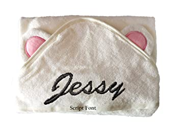 Personalised Baby Embroidered Hooded Towel Muslin Cloth/'s Teddy Boxed Gift Set