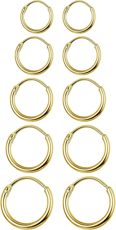 Jstyle 5Pairs Stainless Steel Hoop Earrings for Men Women Cartilage Tragus Earring Endless Small Hoop Earrings Body Piercing Set 20G Post,8MM-16MM