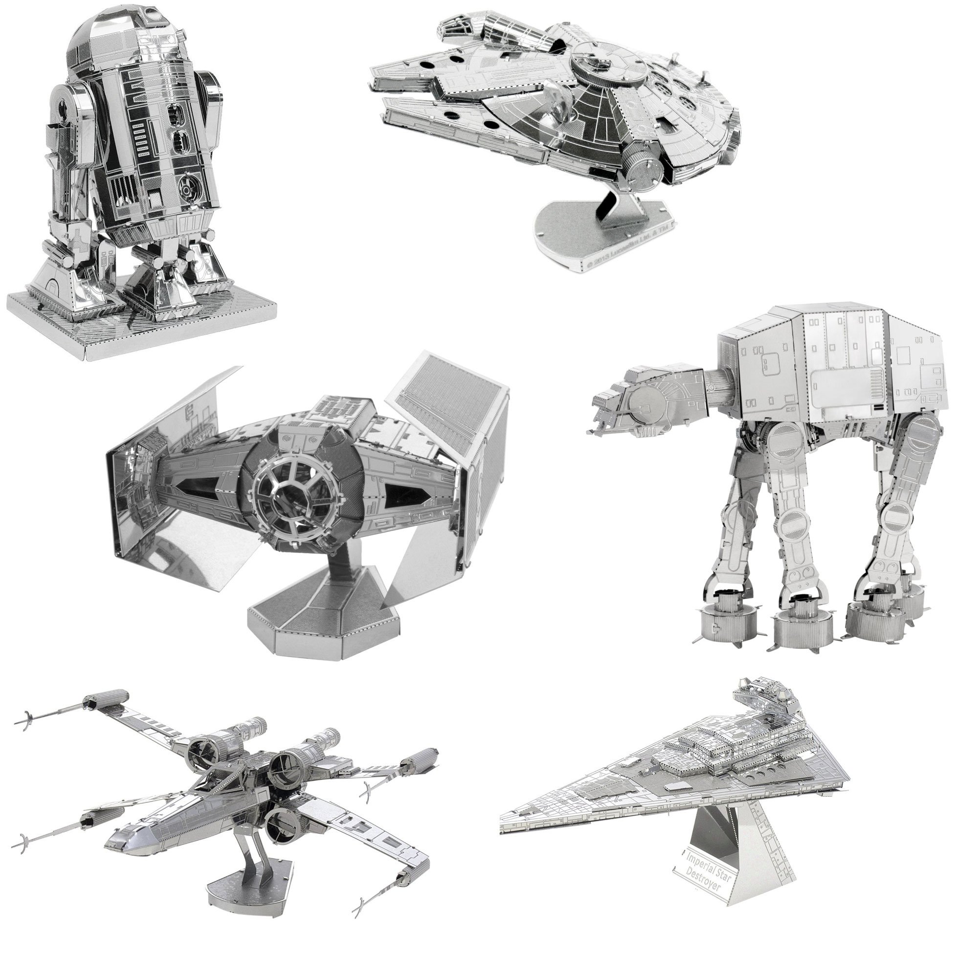 Metal Earth 3D Model Kits Star Wars Set of 6 Millennium Falcon - R2-D2 - X-Wing Starfighter - at-at - Darth Vader's TIE Fighter - Imperial Star Destroyer