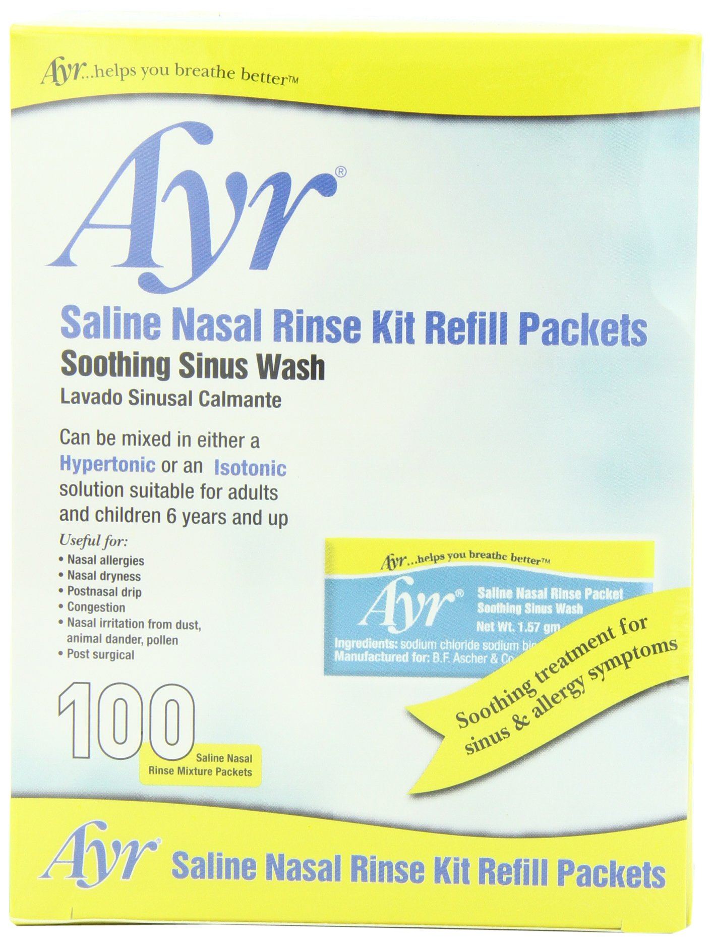 Ayr Saline Nasal Rinse Kit Refill Packets, 100-Count Packets (Pack of 2) by Ayr