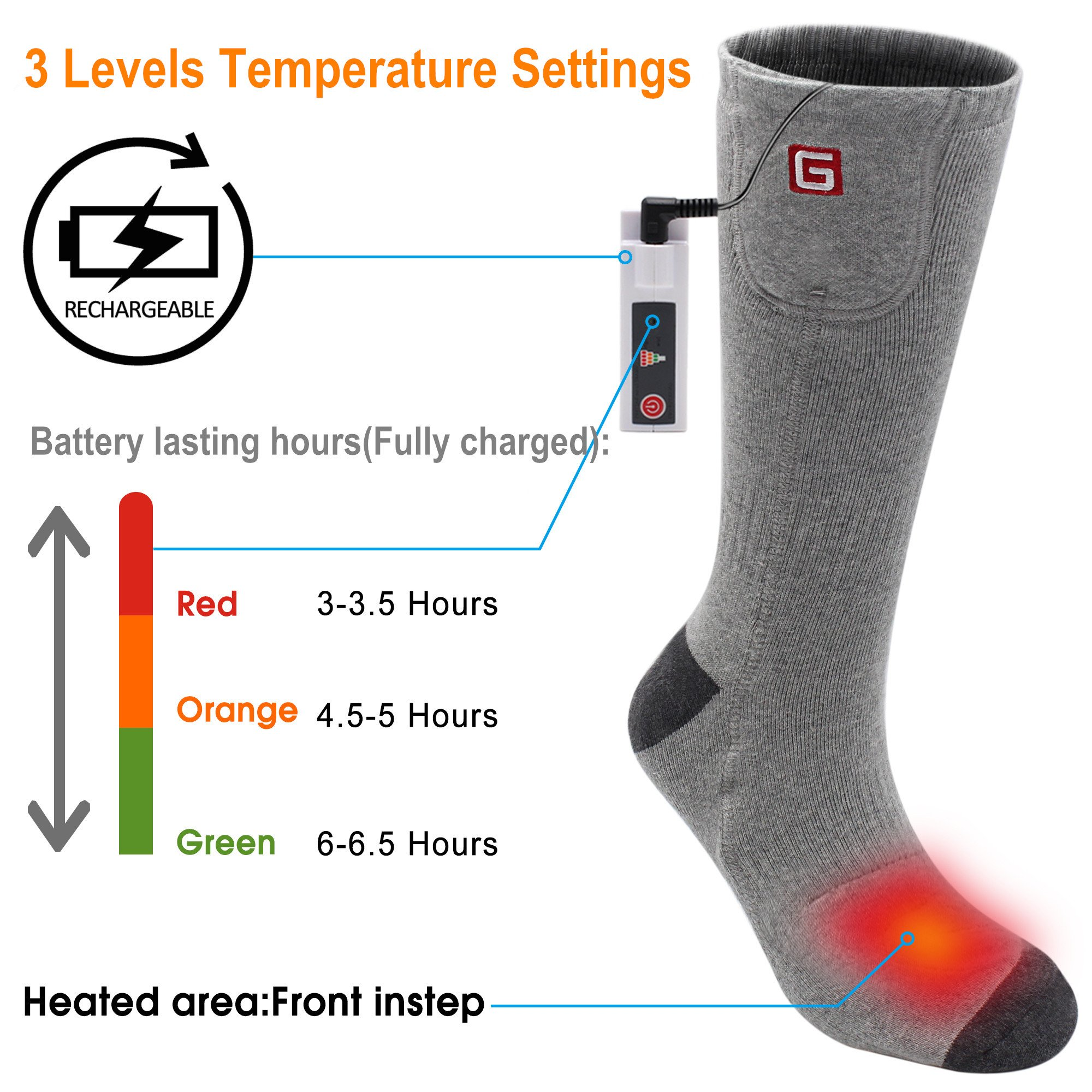 GLOBAL VASION Foot Warmers Electric Rechargeable Heated Socks for Hunting Skiing Fishing by GLOBAL VASION (Image #3)