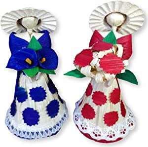 Jacq & Jürgen Corn Husk Doll Decorative Doll 2 Pack Handcrafted Dolls Mexican & Traditional Ornament Crafts Decoration Wedding Gift Beautiful Stand (SmallRed&Blue)