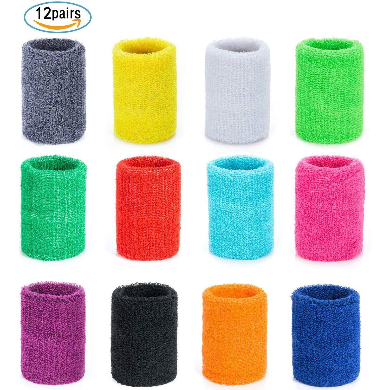 Czemo 12 Pares Muñequeras Deportivas Pulseras de algodón Coloridas Sweatband para Tenis Baloncesto