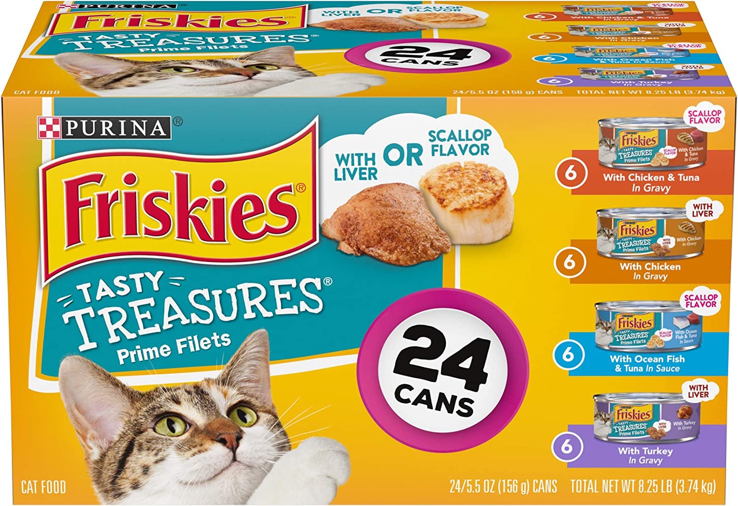 Purina Friskies Gravy Wet Cat Food Variety Pack, Tasty Treasures Prime Filets - (24) 5.5 oz. Cans