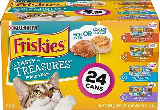 Purina Friskies Gravy Wet Cat Food Variety Pack, Tasty Treasures Prime Filets - (24) 5.5 oz. Cans