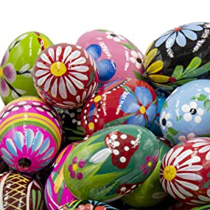 STOKROTKAUS Easter Eggs Pysanky Decor Hand Painted Polish Decoration Wooden Pisanki