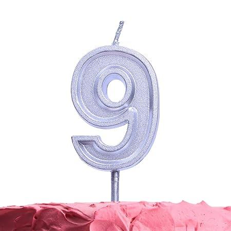 Get Fresh Velas de cumpleaños de 9 años, Velas Plateadas ...