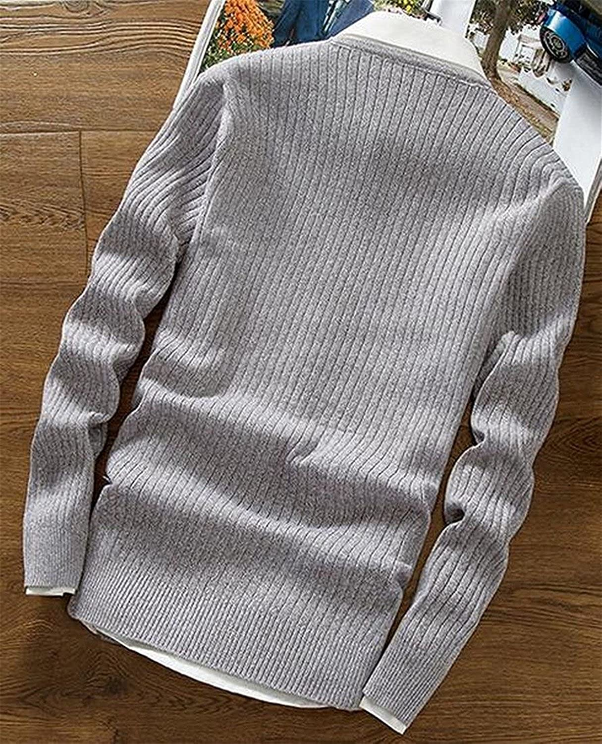 Robert Reyna Unique Men V NNeck Cable Knit Slim Fit Long Sleeve Retro Pullover Sweater
