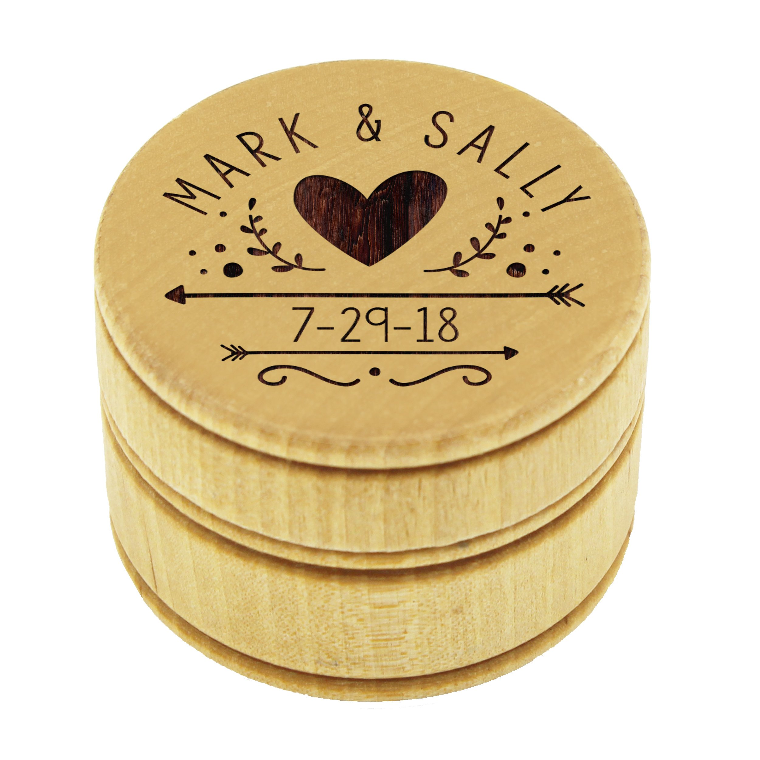 Personalized Ring Bearer Pillow Alternative - Custom Engraved Wood Ring Box Holder - Monogrammed for Free by My Personal Memories (Image #5)