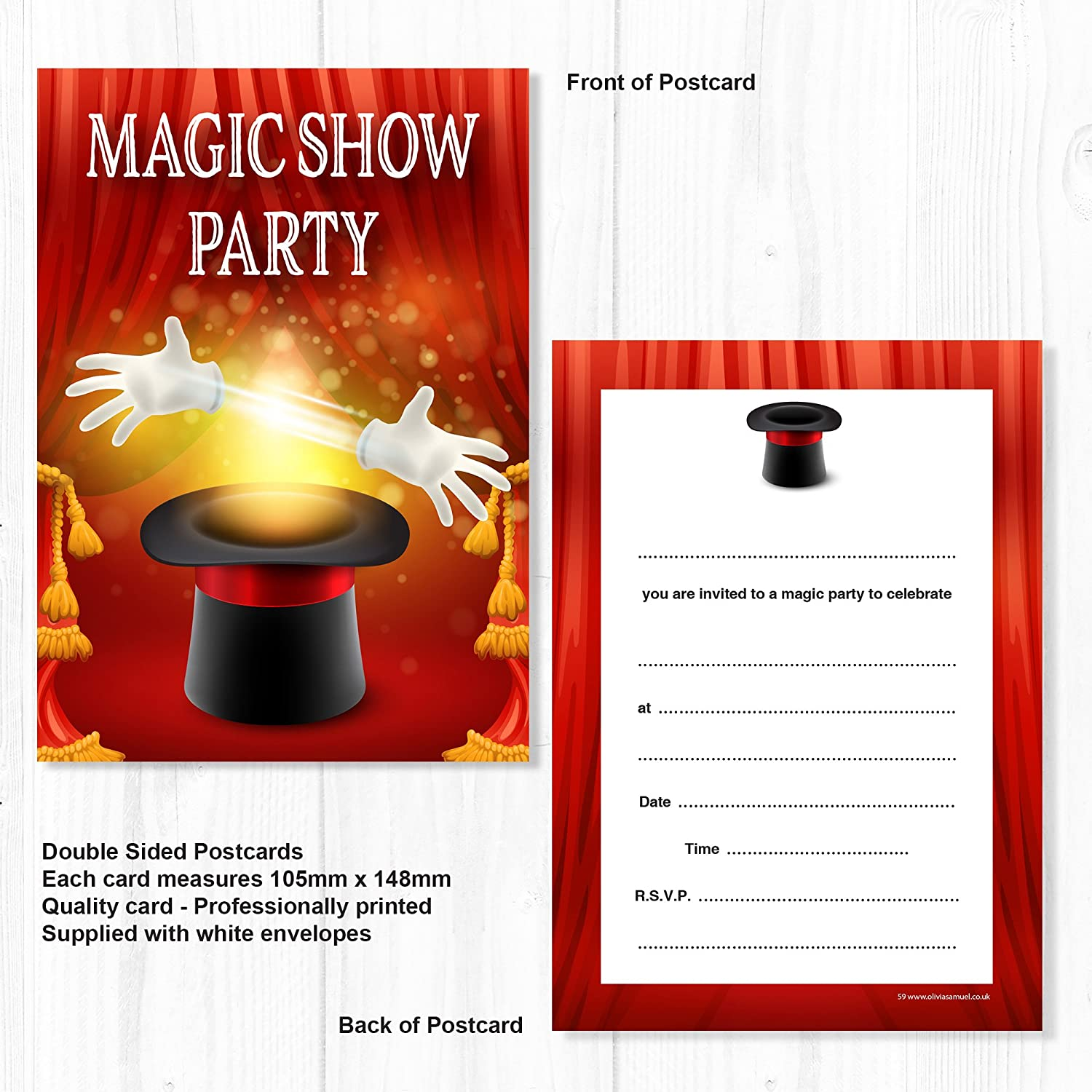 Pack of 10 A6 Postcard Size with envelopes Olivia Samuel Magic Party Invitations