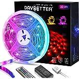 DAYBETTER Led Strip Lights 32.8ft, RGB Light Strips Kit with 44 Keys IR Remote Controller, 1 roll of 32.8ft LED Lights…