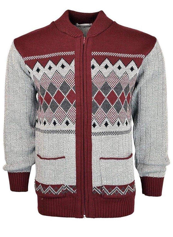 Mens Classic Cardigan Argyle Casual Design Thick Knit Warm Zipper Sweater Jumper Flaves Fashion mpn_ 997