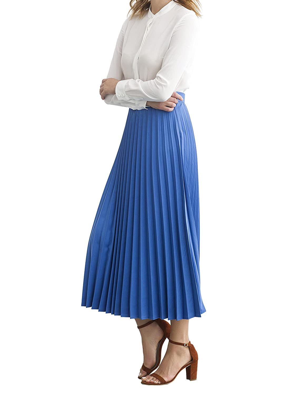 7e1cc7ff5d Simple Retro Women's Pleated Skirt Midi A Line High Waist Skirt, Blue,  XX-Small at Amazon Women's Clothing store:
