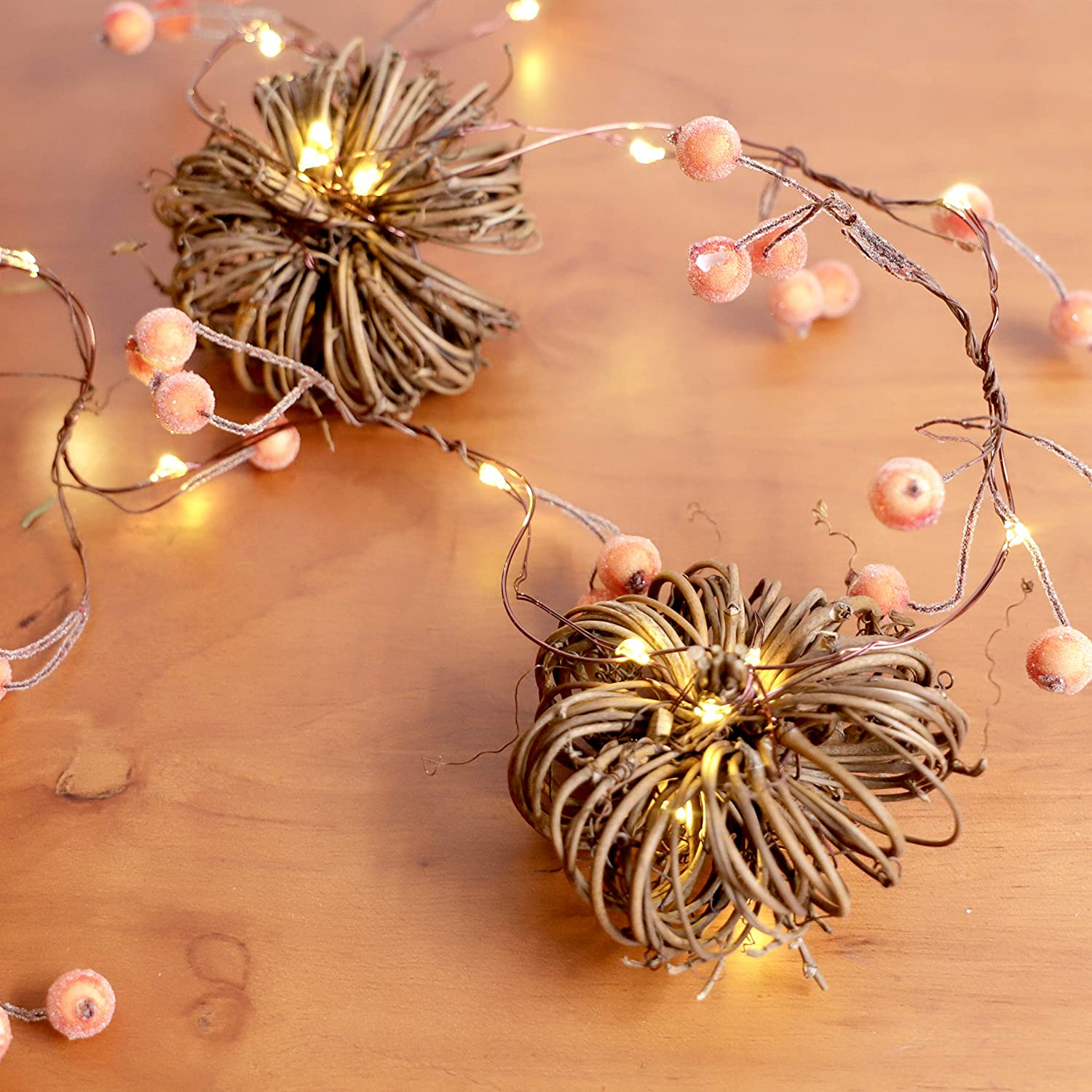 MIYA LIFE Rattan Pumpkin Berry String Lights 10ft 30LEDs Hand Made with The Remote & Timer for Thanksgiving Halloween Christmas Birthday Gift Autumn Indoor Outdoor Parties Home Bedroom Decoration