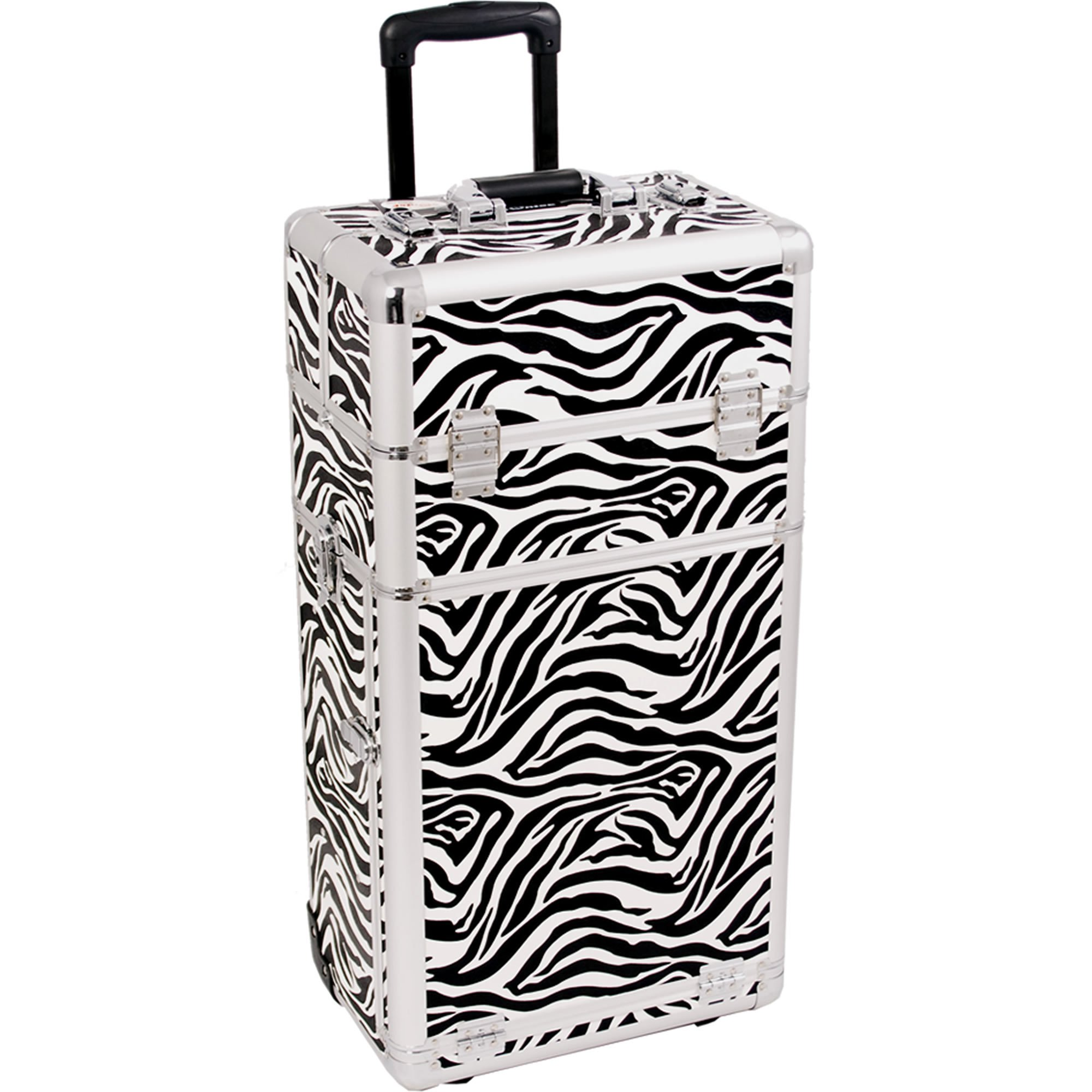 SUNRISE Makeup Case on Wheels I3562 2 in 1 Professional Artist, 3 Trays and 4 Drawers, Brush Holder, Locking with 2 Mirrors and Shoulder Strap, White Zebra by SunRise