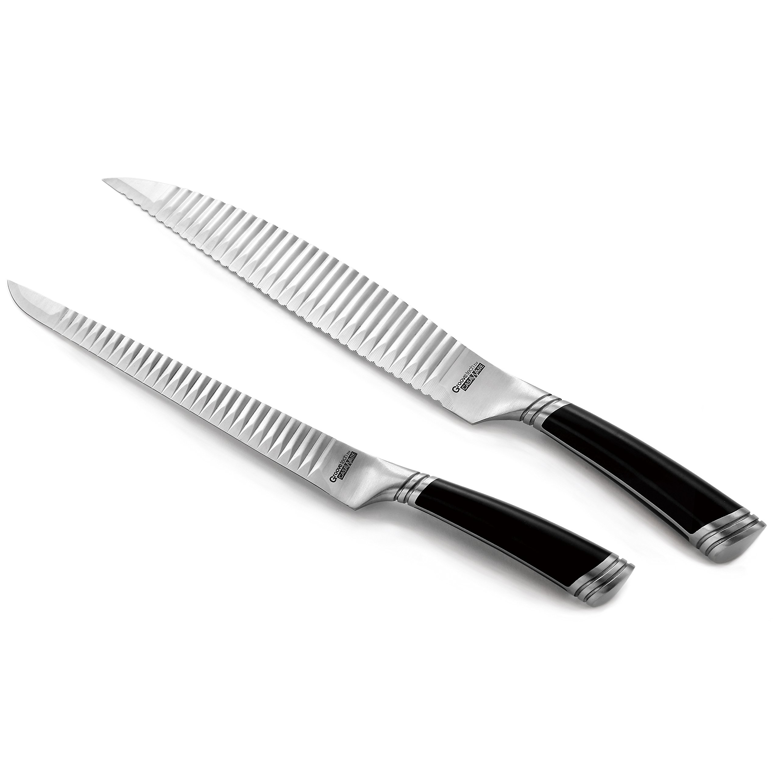 casaWare Groovetech 2-Piece Carving Set (9-Inch Carving and 9-Inch Serrated Bread Knife)