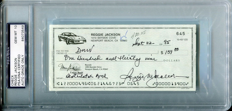 Reggie Jackson Autographed Check (PSA)
