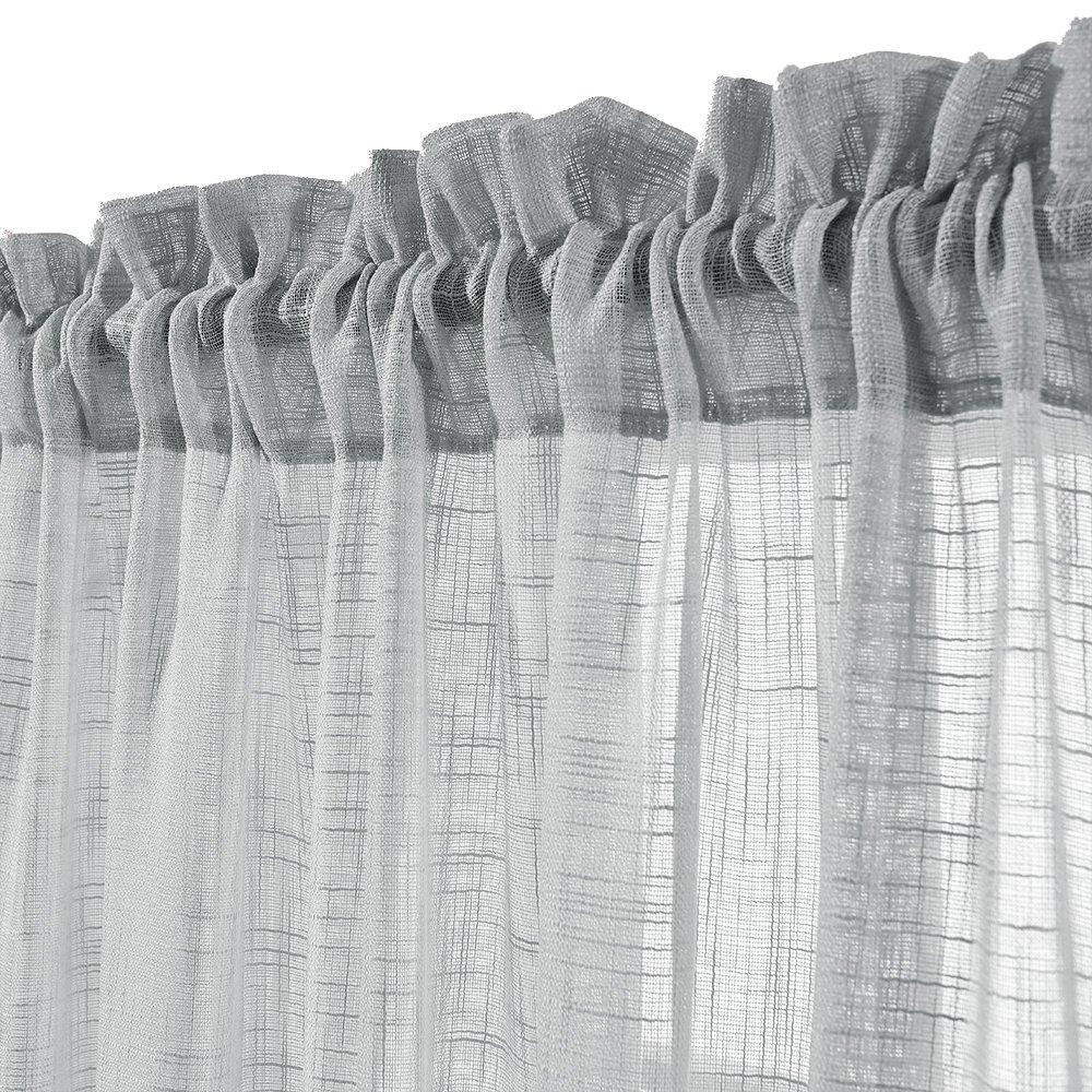 Linen Look Sheer Valance Bedroom 16 inch Length Valances Windows Rod Pocket Curtain Valance Grey Living Room, 1 Panel, Grey by jinchan (Image #3)