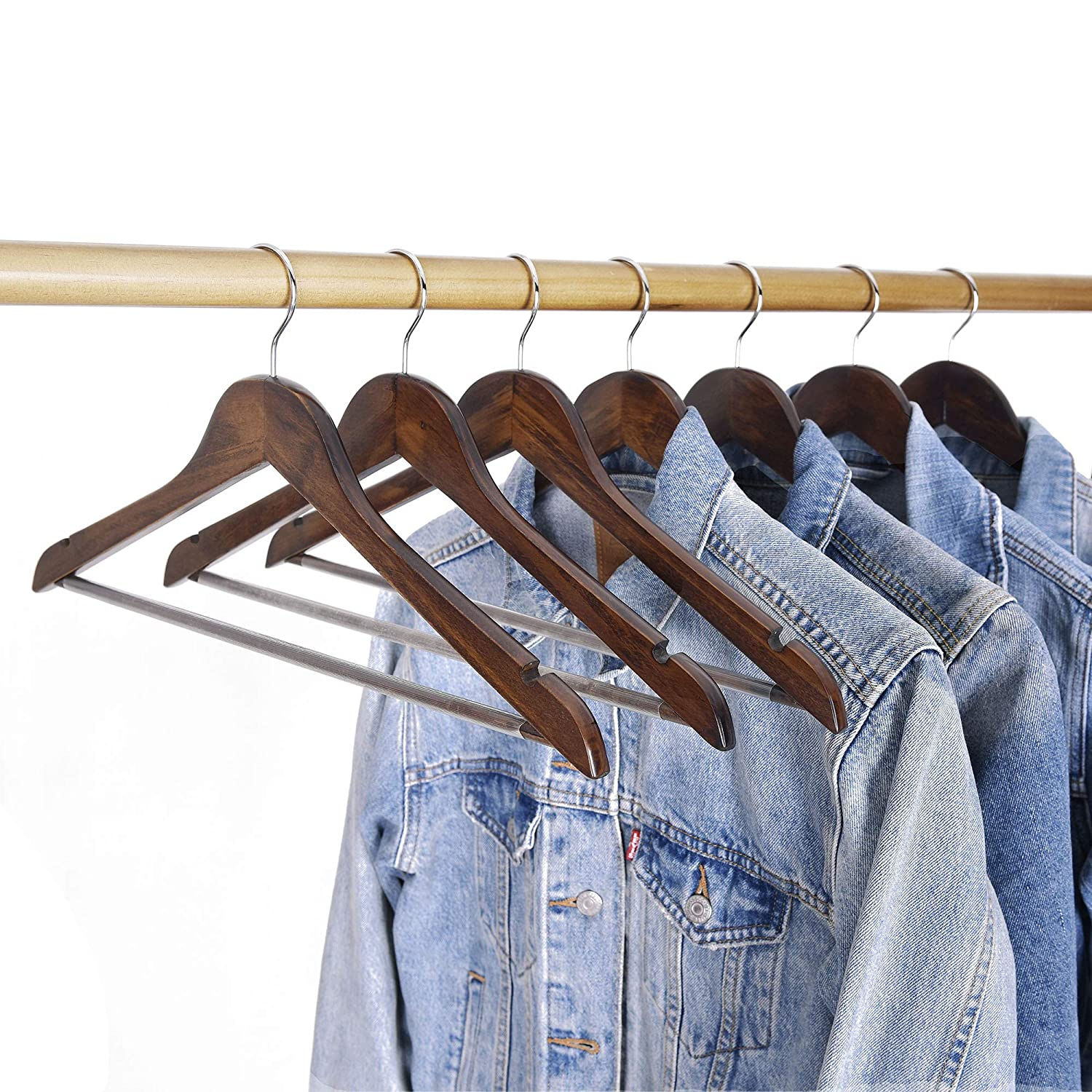 Natural Finish StorageWorks 6-Pack Solid Wooden Extra-Wide Shoulder Suit Hangers with Anti-Rust 360 Degree Swivel Hook