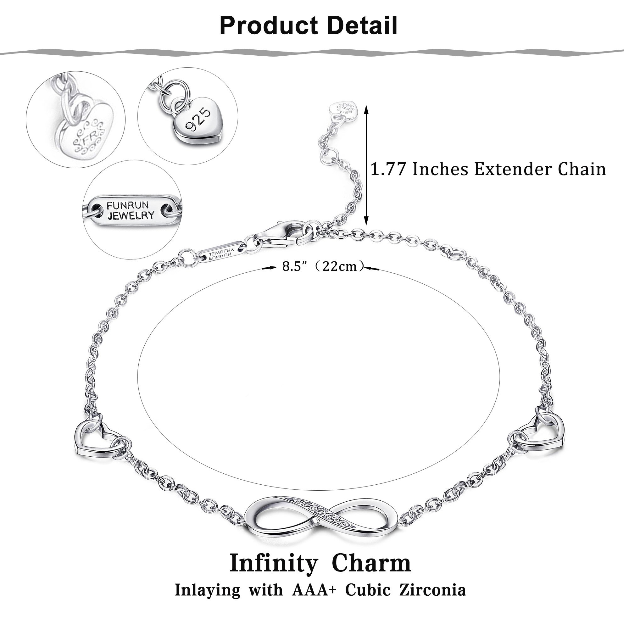 FUNRUN JEWELRY 925 Sterling Silver Infinity Bracelets and Anklet Bracelets for Women Girls 4-Level Adjustable Length Gift for Mother's Day (Anklet) by FUNRUN JEWELRY (Image #2)