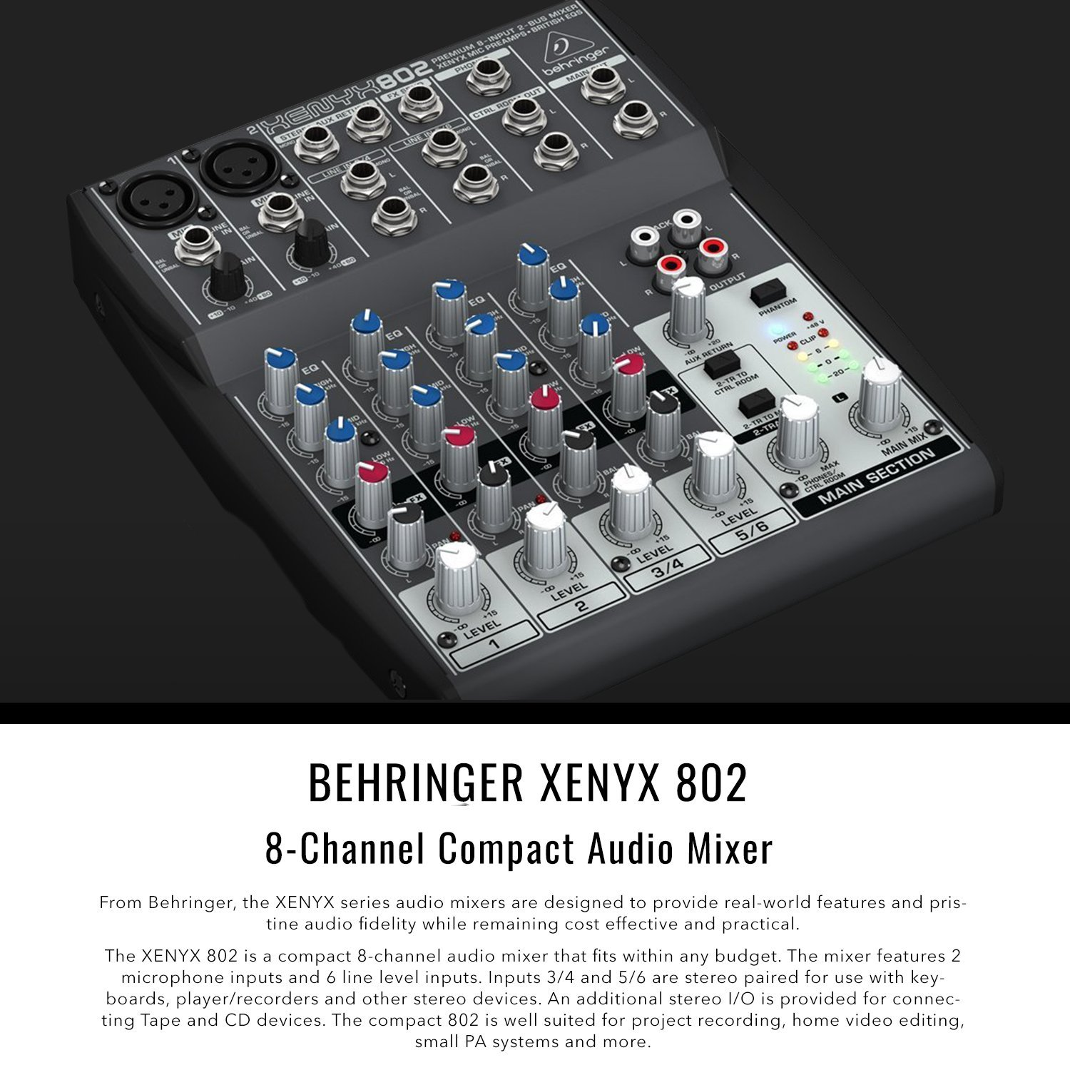 Behringer XENYX 802 8-Channel Compact Premium Audio Mixer with Cables and Basic Bundle by Photo Savings (Image #2)