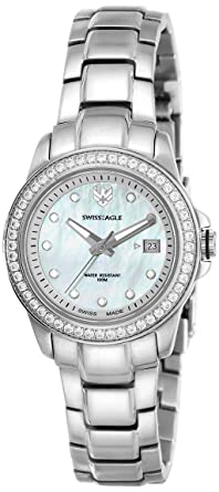 Swiss Eagle Analog Mother of Pearl Dial Women's Watch - SE-6033-22 Women at amazon