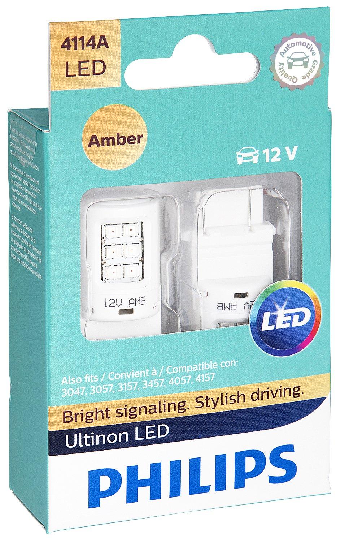 Philips 4114 Ultinon LED Bulb (Amber), 2 Pack