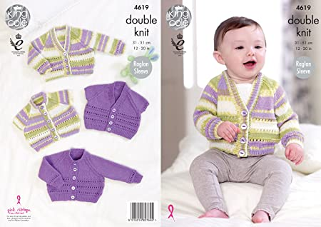 King Cole Double Knitting DK Pattern Baby Long Sleeved Sweaters Cardigans 2909