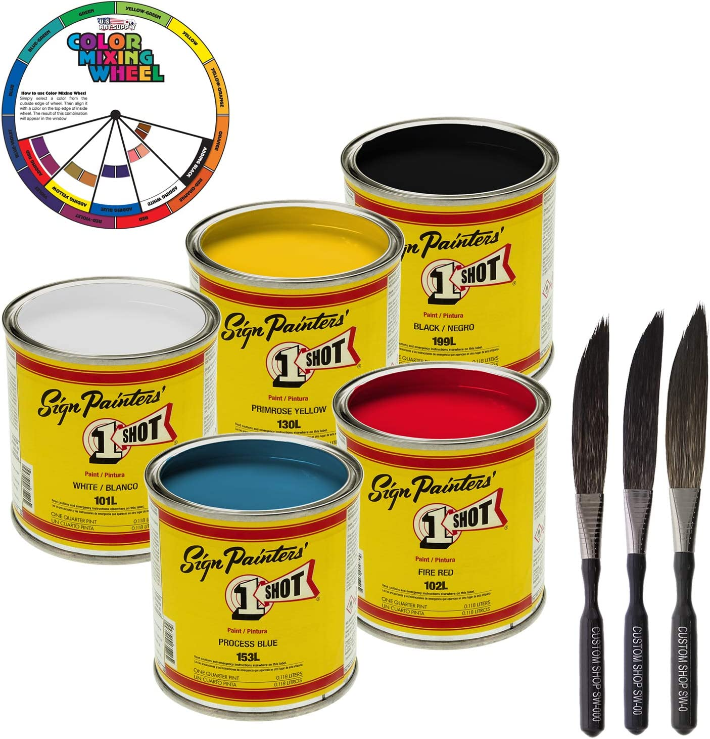 Amazon Com 1 One Shot 5 Color Lettering Enamel Pinstripe Paint Kit With Custom Shop Striping Brush Set And Color Wheel Arts Crafts Sewing