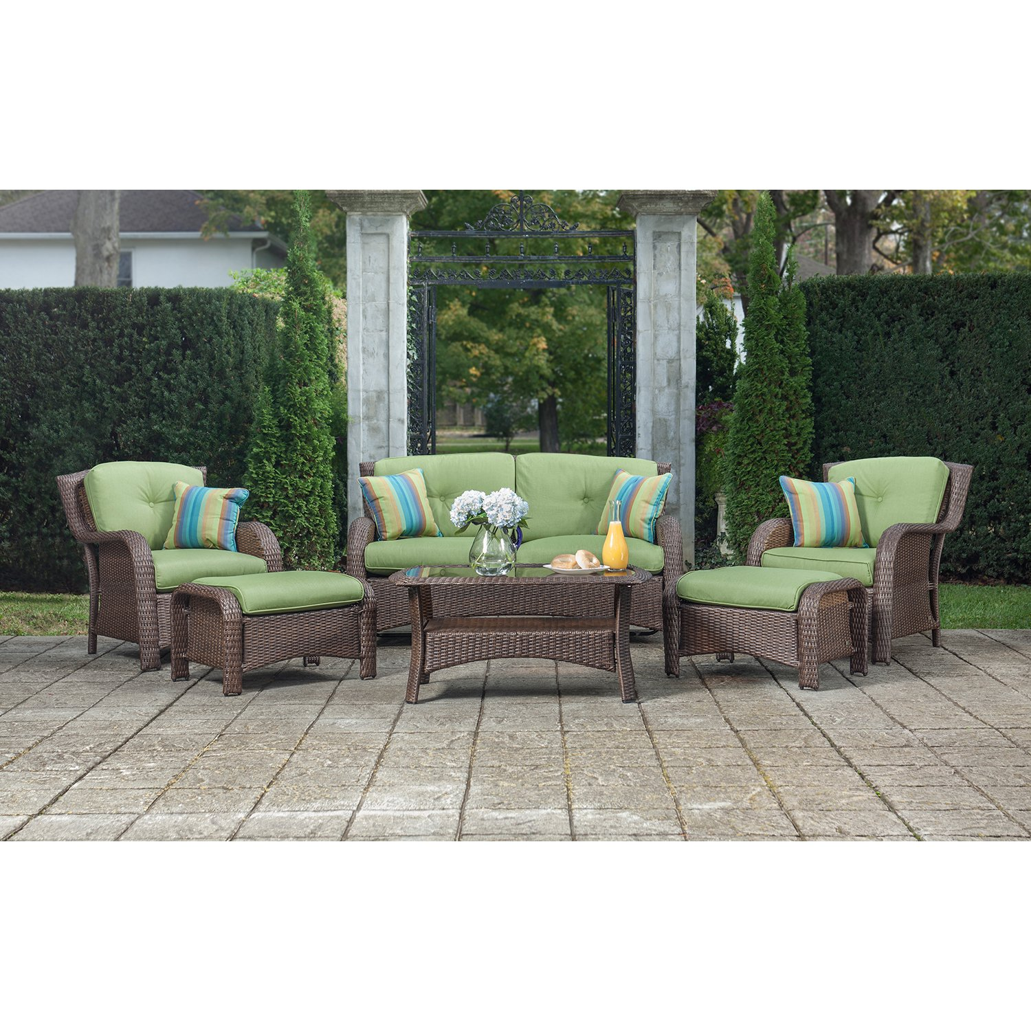 Amazon.com La-Z-Boy Outdoor Sawyer 6 Piece Resin Wicker Patio Furniture Conversation Set (Cilantro Green) With All Weather Sunbrella Cushions Garden u0026 ...  sc 1 st  Amazon.com & Amazon.com: La-Z-Boy Outdoor Sawyer 6 Piece Resin Wicker Patio ... islam-shia.org
