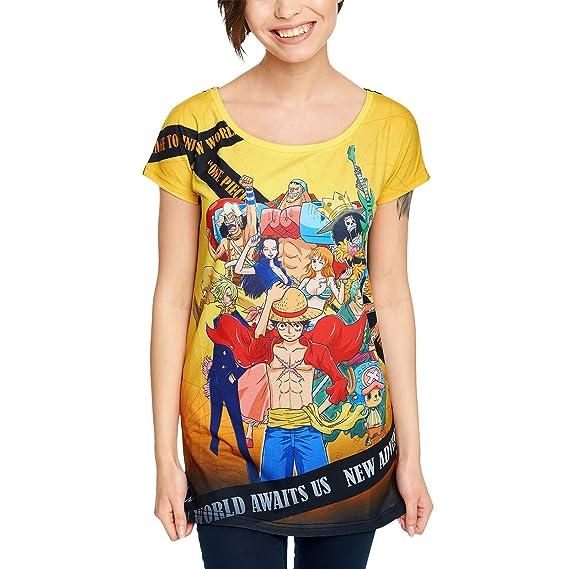 One Piece Maglietta da Donna New World Cappello di Paglia Loose Fit Anime -  L fa01e3c47b0a