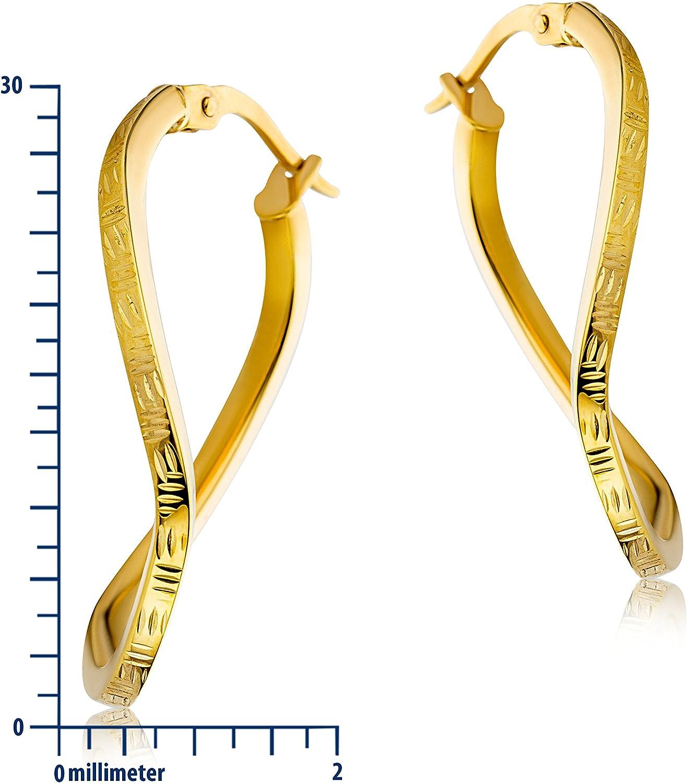 Boucles dOreilles Femme Creole Miore Or Jaune 9ct