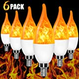 E12 Flame Bulb LED Candelabra Flame Bulbs, 1.2 Watt Blue LED Chandelier Bulbs - Flame Light Bulbs for Festival/Hotel/Bar Party Decoration/Christmas Decorations (6 Pack)