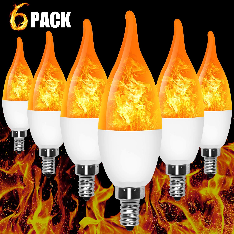 E12 Flame Bulb LED Candelabra Flame Bulbs, 1.2 Watt Yellow LED Chandelier Bulbs - Flame Light Bulbs for Festival/Hotel/Bar Party Decoration/Halloween Decoration (6 Pack) by AYOGU