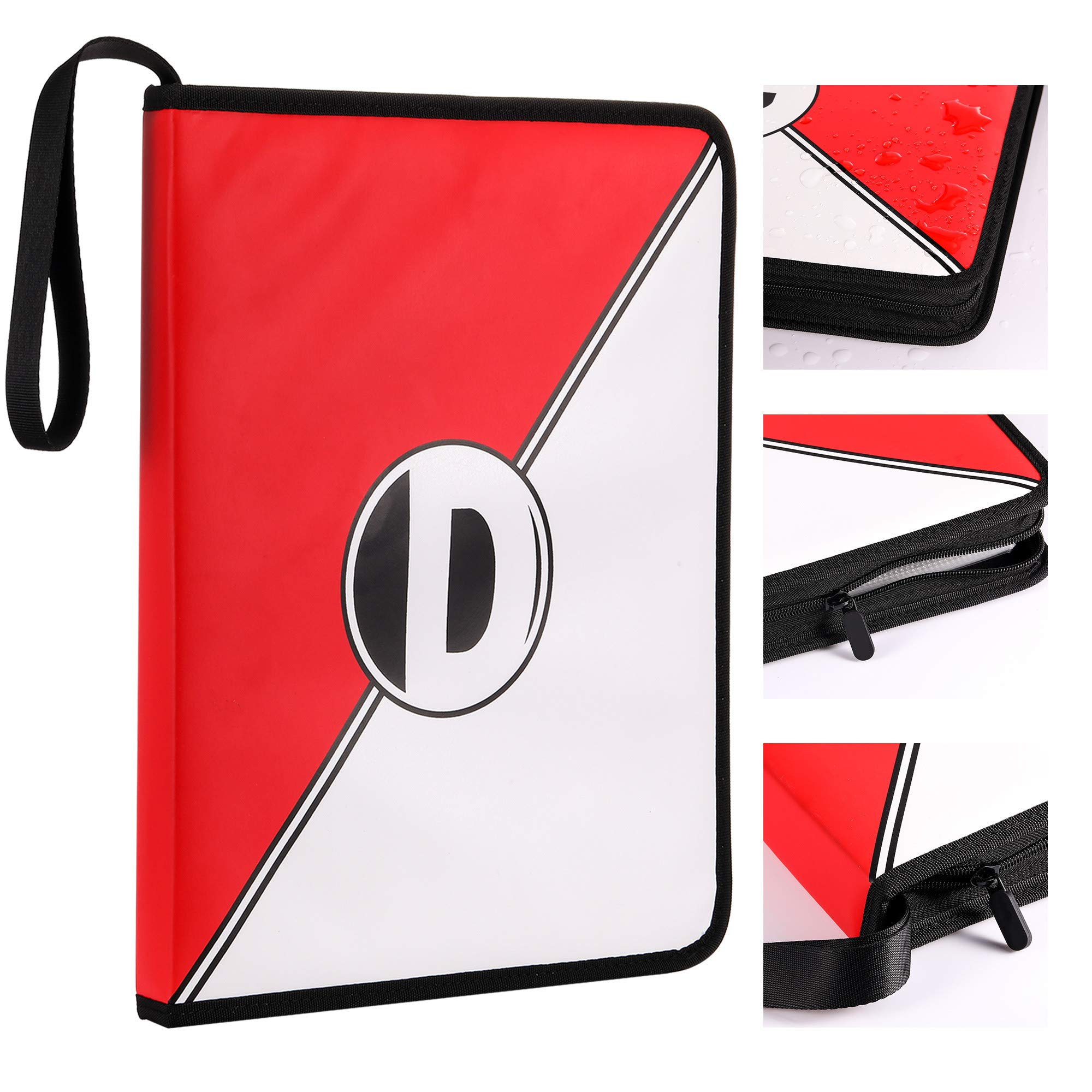 D DACCKIT Carrying Case Compatible with Pokemon Trading Cards, Cards Collectors Album with 30 Premium 9-Pocket Pages, Holds Up to 540 Cards(Red and White Version) by D DACCKIT (Image #3)