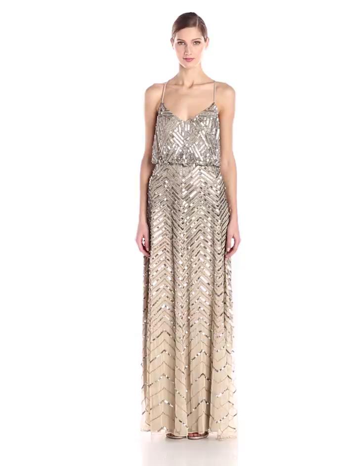 Amazon.com: Adrianna Papell Women\'s Blouson Chevron Beaded Gown ...